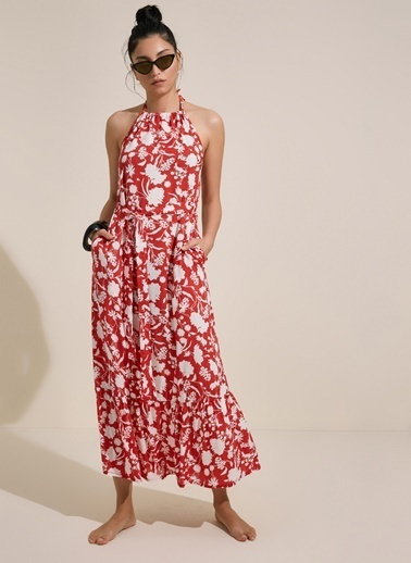 Morhipo Beach Çiçek Desenli Halter Yaka Elbise Kırmızı